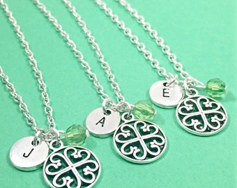 Set of 3,Personalized Best friend necklace - set of 3, filigree necklaces, filigree charms,initial,custom,monogram,friendship,3 best friends