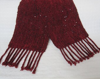 Handwoven Wine and Black Sequins Rayon Chenille Scarf