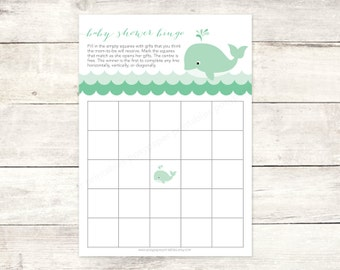 baby shower bingo game card printable DIY green whale waves grey cute baby gender neutral digital shower games - INSTANT DOWNLOAD