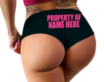 Custom Personalized Property Of Panties Personalized With Your Name, Bold Style Boyshorts Booty Panty, Customized Womens Underwear