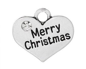 4 Merry Christmas Charms, 2 Sided Antique Silver Tone w/ Rhinestone (1U-148)