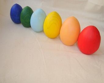 Wooden rainbow eggs toys. Wood eggs. Wooden eggs. Montessori toys
