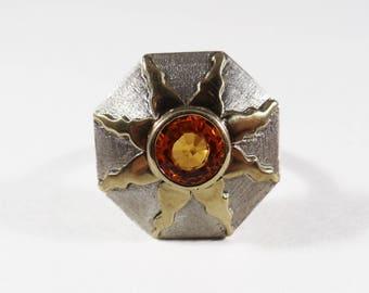 Sterling Silver 18k Yellow Gold Sun Motif Orange Sapphire Ring