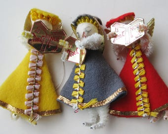 3 Vintage 50s Spun Cotton Christmas Angel Carolers Decorations Ornaments