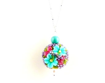 Aqua Blue and Pink Floral Lampwork Charm Necklace, Pendant Necklace, Flower Jewelry, Valentine Day, Gifts, Fashion Jewelry, Lampwork Jewelry