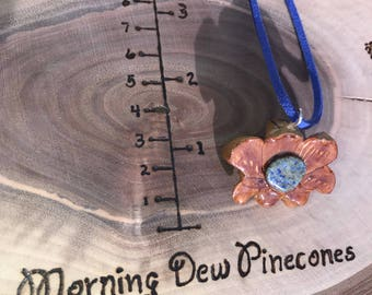 Pine cone | jewelry | necklace | healing stones | lapis lazuli | knob cone heart | hand made | unique | wilderness | meditation | peace