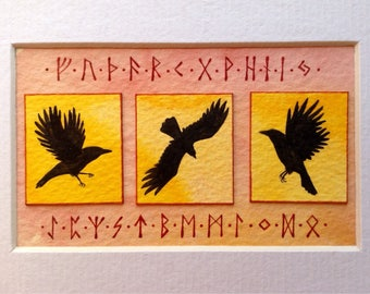 ORIGINAL HAND PAINTED Raven and Rune Tableau
