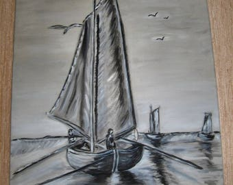 Sailboat painting in acrylic on canvas canvas
