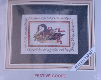 Festive Goose Counted Cross Stitch Weekenders Stitch Kit by Joan Marchie