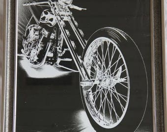 16x20 inch framed poster of a Harley Panhead chopper