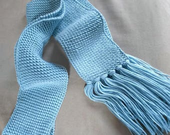 Knitted Baby Blue Scarf with fringe,Blue knit scarf,Women's scarf,winter scarf,handmade scarf,gift for her