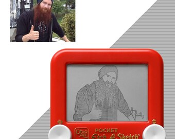 Custom Pocket Single Etch A Sketch art Portrait