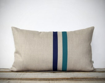 Teal and Navy Striped Pillow - 12x20 - Modern Home Decor by JillianReneDecor - Colorful Colorblock Stripes (READY TO SHIP)