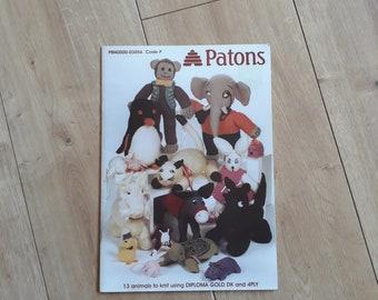 Patons Animals To Knit 03056, Patons 13 Animals To Knit, Soft Toys To Knit, Soft Toy Animal Knitting Patterns