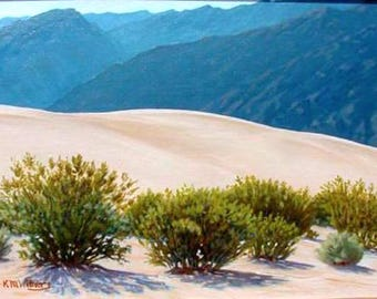Desert painting  'Morning Blues' - California - sand dunes -impressionism - original landscape painting - oil - framed - wall art