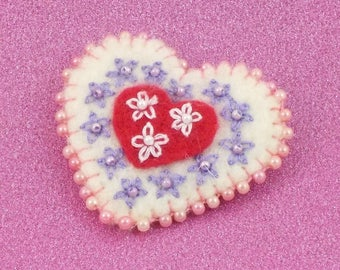 Felt heart brooch with beads and embroidery gift for Mum