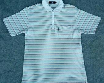 Vtg VIP PLAYBOY 1/2 Zip Stripes Polo Shirt