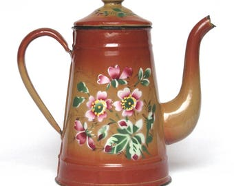 Early 1900s Vintage French Enamelware Coffee Pot with raised floral pattern