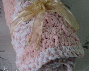 Crochet Baby Blanket Pink - White / Super Soft Crochet Blanket