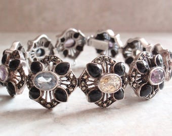 Gemstone Bracelet Sterling Silver Black Onyx Citrine Amethyst Topaz Marcasite 6-3/4 Inch Link Vintage V0709