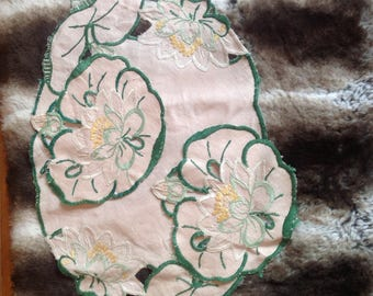 Water lily dressing table cloth. Beautiful hand embroidered, set of 3, vintage and sooo cute.