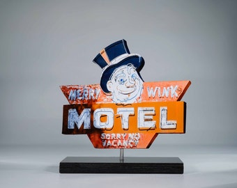 Merry Wink Motel neon sign / vintage motel sign / creepy sign / route 66 sign / old neon sign / retro roadside sign / reno sign / monopoly
