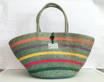 Straw basket - Straw bag - Summer carrycot bag - Straw beach bag - basket - wicker bag - market bag - Vintage straw bag - woven straw bag
