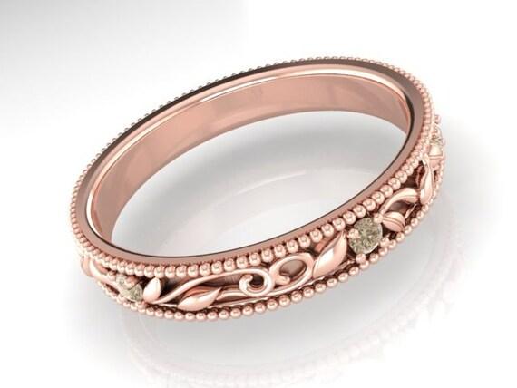 Organic Wedding Band Champagne Diamonds Paisley Pattern Eternity Vine Rings Rose Custom Made By Irina