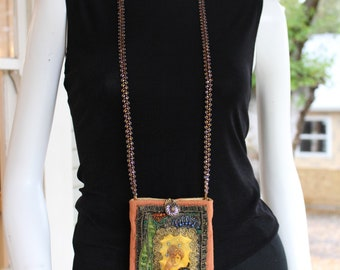 """Handmade Beaded Neck Purse or """"Usable Jewelry"""" - Large"""