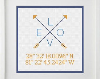 Custom Arrows Longitude Latitude Love Engaged Married Newlyweds First Date or Wedding Location Cross Stitch Pattern -- Digital PDF Download