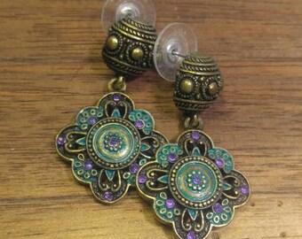 Brassy Goldtone  with Teal Enamel and Purple Rhinestones Pierced Earrings
