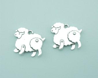 10pcs 18x21mm Antique Silver Sheep Charm Pendants ZB169