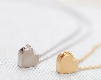 Set of 2 Tiny Heart Necklace - Silver and Gold Tiny Heart Necklace, Simple Delicate Necklace, Mother Daughter Necklaces, Sister Necklace