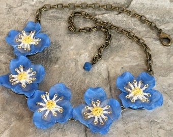 Blue Poppy Mixed Media Collage Necklace