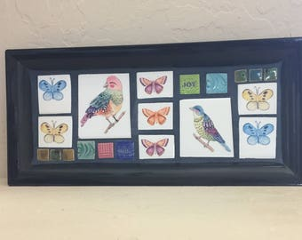 Mosaic Tray--Birds and Butterflies