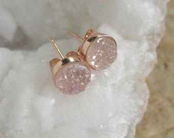 Tiny Rose Gold Druzy Earrings, Rose Gold Druzy Studs, Stud Earrings, Natural Druzy, Drusy Quartz Earrings, Rose Gold Vermeil Bezel Set