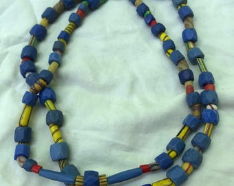 Vintage Sterling Silver Russian Cobalt & Art Glass Double Stranded Bead Necklace