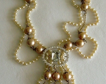 Marie-Antoinette Pearl and Rhinestone Royal Necklace