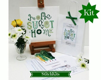 Cross Stitch Kit, Home Sweet Home, Modern Green Daisy Design by Ruth Caig