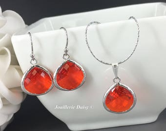 Orange Jewelry Bridesmaid Jewelry Silver Necklace Set Wedding Jewelry Gift for Her Maid of Honor Mother of Groom Crystal Jewelry Gift Idea