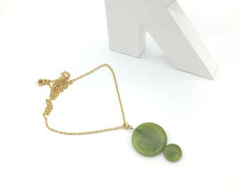 Vegetable ivory (Tagua) green and gold pendant necklace