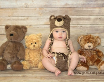 Crochet Bear Hat, Baby Bear Hat, Bear Hat and Diaper Cover Set, Baby Bear Outfit, Newborn Hat,  Hat and Diaper Cover Set