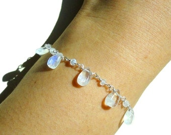 Moonstone, Sterling Silver Bracelet, Drop Shaped, Rainbow Moonstone, Simmering, Dainty Bracelet, Gemstone Bracelet, Moonstone Bracelet