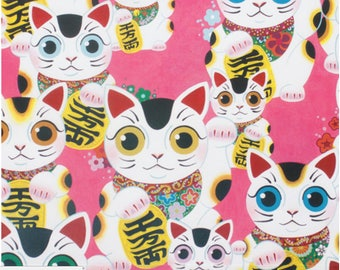 Fuku Kitty - Good Luck Kitty - Cats by Alexander Henry Pink background