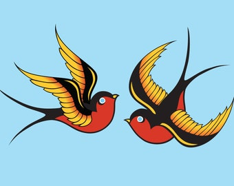 Sailor Jerry Swallow Tattoo Art Print, Illustration Bird Wall Art Wall Decor Red Blue Valentine Romantic Flying Bird