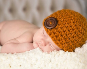 Baby Hat 0 to 3 Month Baby Girl Hat Baby Boy Hat Butterscotch Wood Button Baby Beanie Fall Photo Prop Autumn Photography Prop Baby Gift
