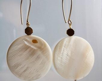 Mother of Pearl Disc Earrings