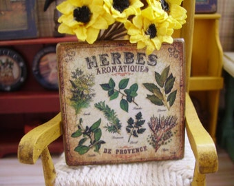 Country Herbes Aromatiques Miniature Wooden Plaque 1:12 scale