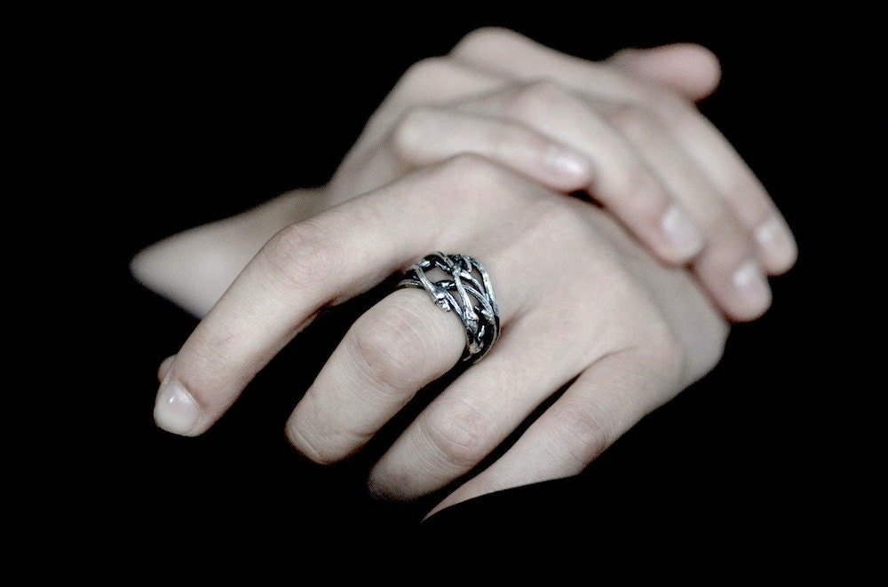 Elvish Nest statement ring silver twig ring RedSofa