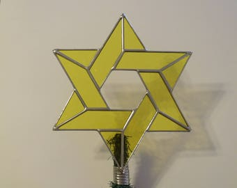 Star of David Tree Topper, Stained Glass Jewish Star, Large Yellow Version